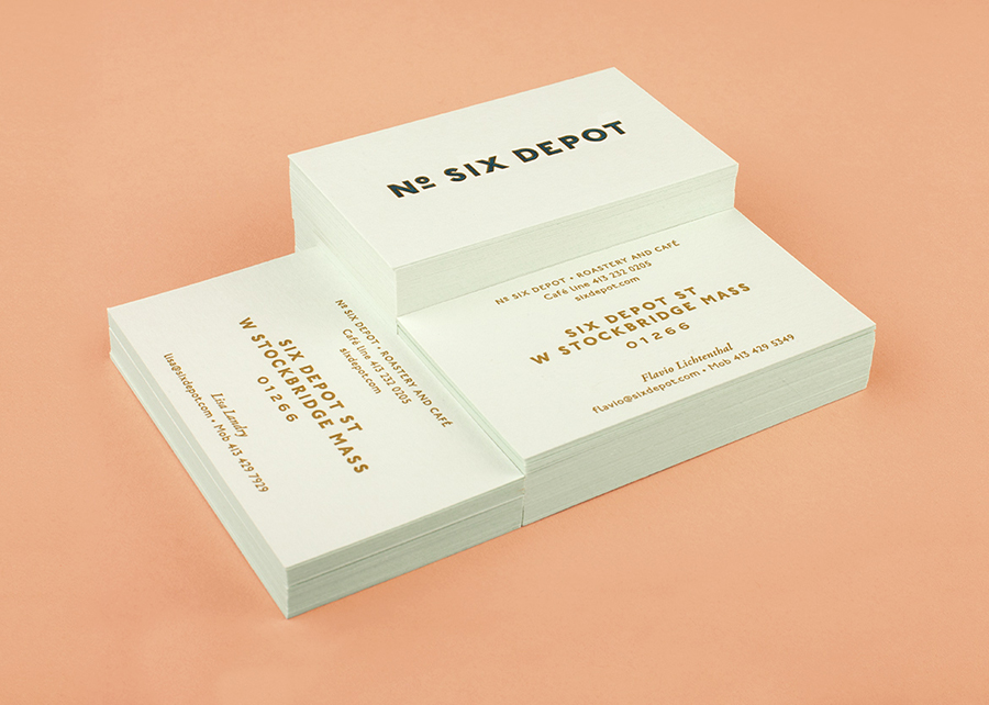 Letterpress business cards designed by Perky Bros for small-batch coffee roaster and café No. Six Depot