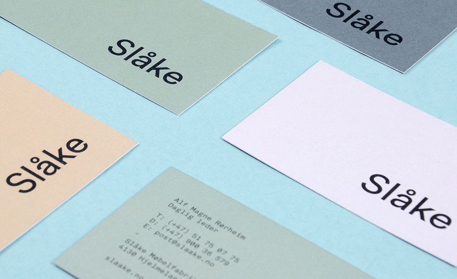 Business cards for Slåke Møbelfabrikk designed by Ghost