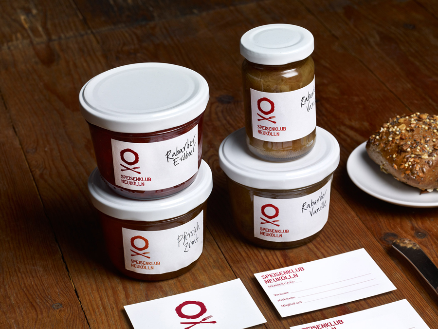 Packaging and branding, labels and business cards designed by Mucho for culinary club Speisenklub Neukölln