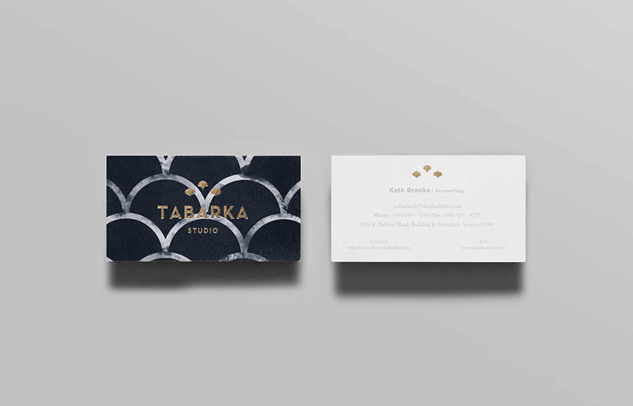 Logo and business card with gold block foil detail designed by Anagrama for terracotta tile specialist Tabarka Studio