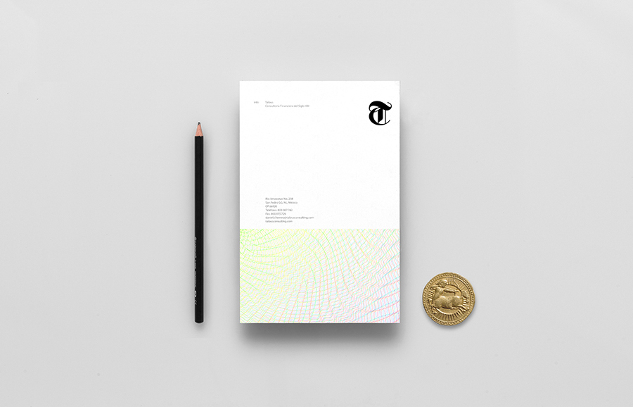 Logo and headed paper with guilloché pattern detail for boutique financial consulting firm Talous designed by Anagrama