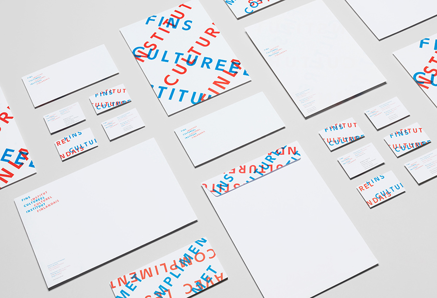 New logo and stationery with red and blue ink overprint detail designed by Kokoro & Moi for The Finnish Cultural Institute for the Benelux