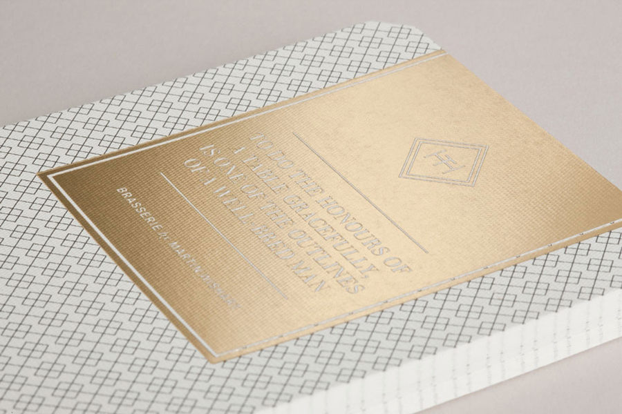 Logo and gold foil print work for Edinburgh-based and Parisian-influenced brasserie The Honours designed by Touch