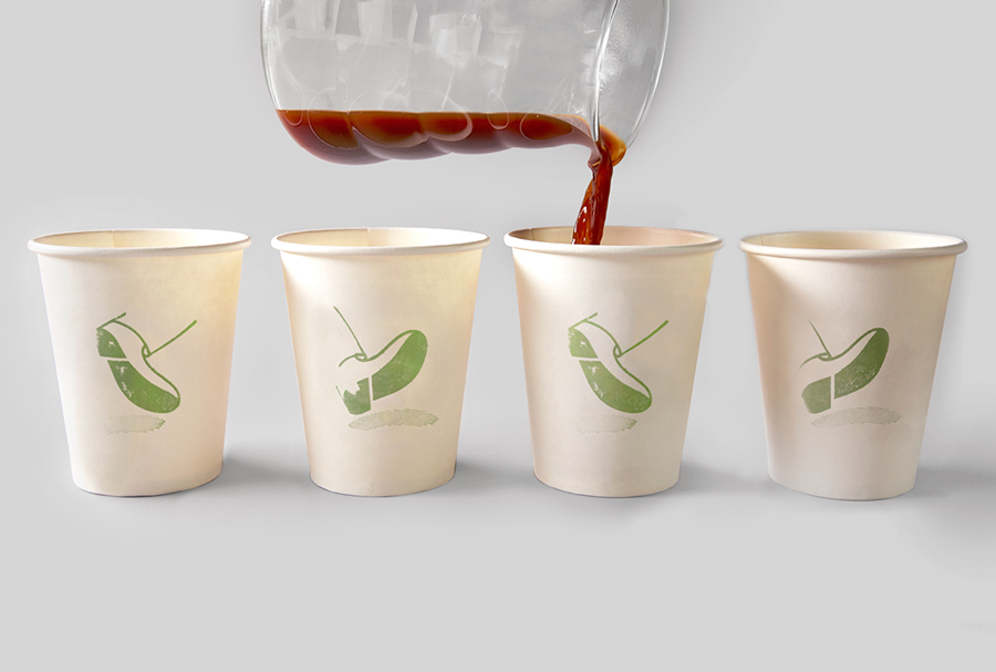 Logo as a stamp based coffee cup detail for Melbourne espresso bar Traveller designed by The Company You Keep
