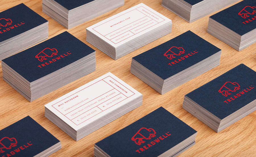 Logo and duplex business card designed by Perky Bros for floor specialist Treadwell