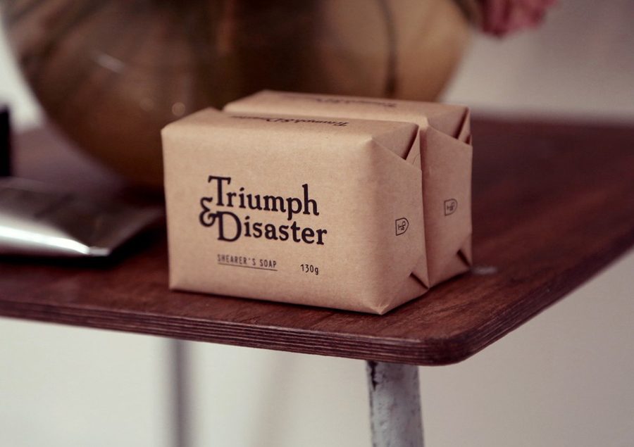 Soap packaging for male skincare and accessory range Triumph & Disaster designed by DDMMYY