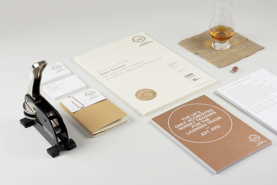 Logo and print with copper print and blind emboss details designed by O Street for Whisky Ambassador