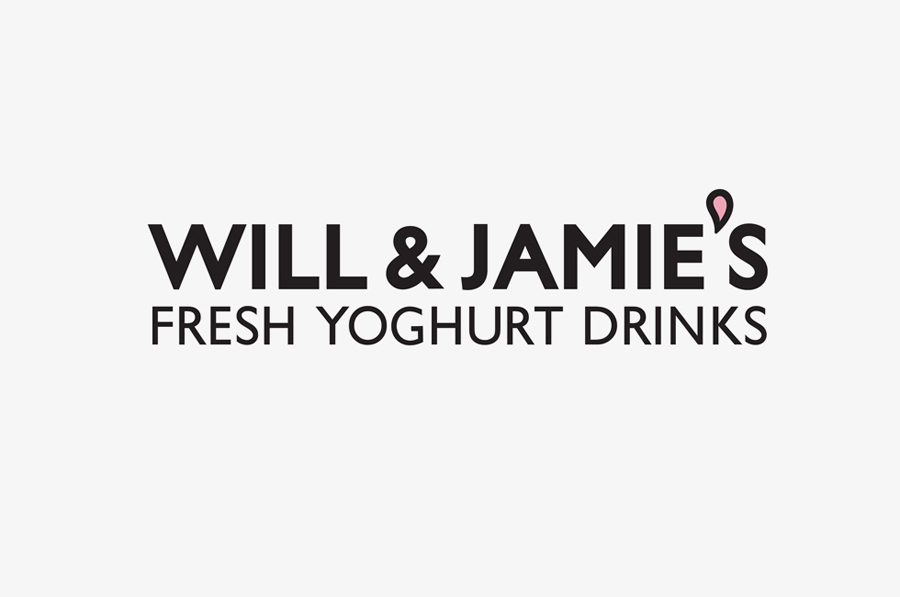 Logotype created by Designers Anonymous for fresh yoghurt drink brand Will & Jamie's