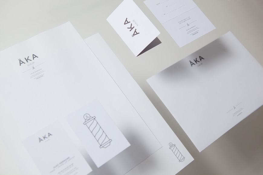 Logo and stationery design by DC for hair salon ÅKA
