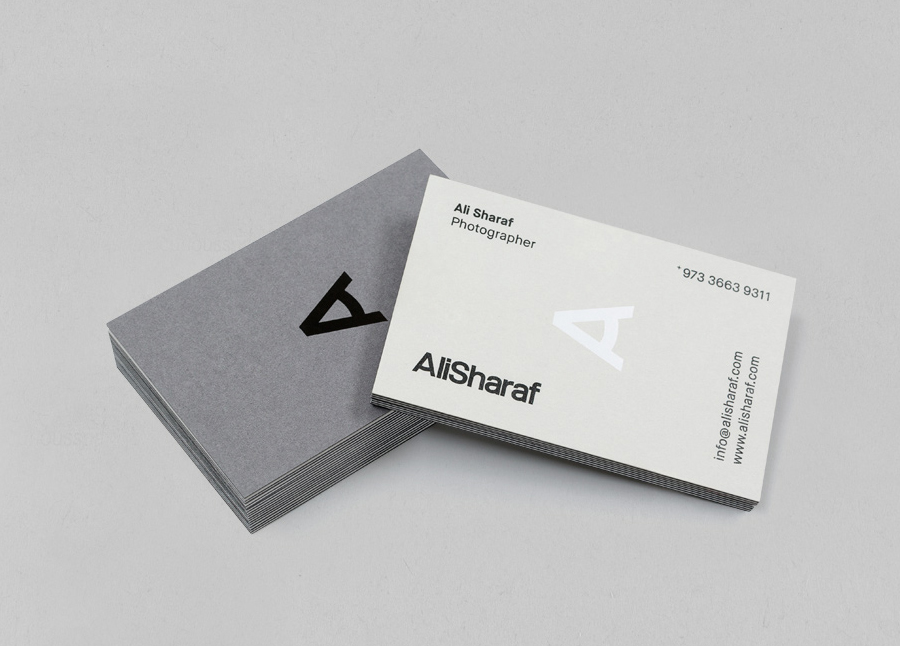 Logo and duplex business card with white and black foil detail designed by Mash for photographer Ali Sharaf