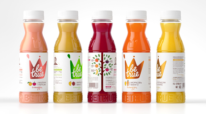 Packaging with coloured foil and raised surface details designed by Studio In for Russian smoothie brand Be True