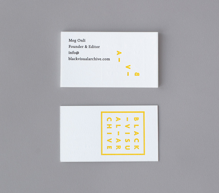 Logo and business card with deboss print finish designed by Fivethousand Fingers for Black Visual Archive, an on-line collection of critical texts on African American artists