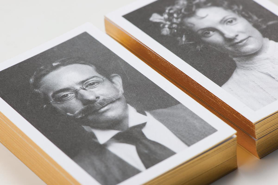 Logo and gold foil business cards with period portrait detail for Adelaide design studio Cornershop