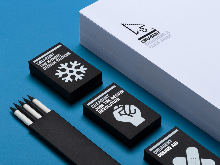 Logo and black board business cards with a white ink print finish designed by Bond for nordic design broker Creagent
