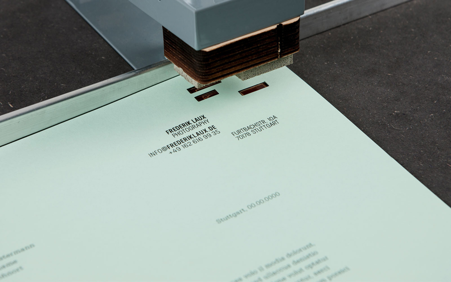 Letterhead with hand die cut detail designed by LSDK for Frederik Laux Photography