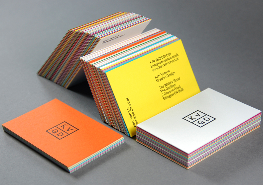 Logo, duplex colorplan and letterpress business cards designed by Kerr Vernon for design studio KVGD