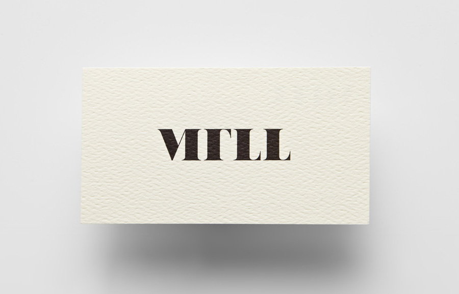 Logo and business card with surface treatment designed by Anagrama for architecture and landscaping firm MTLL
