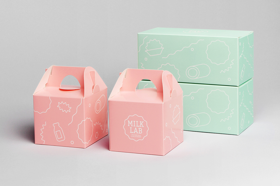 Packaging designed by Studio FNT for South Korean dessert restaurant Milk Lab