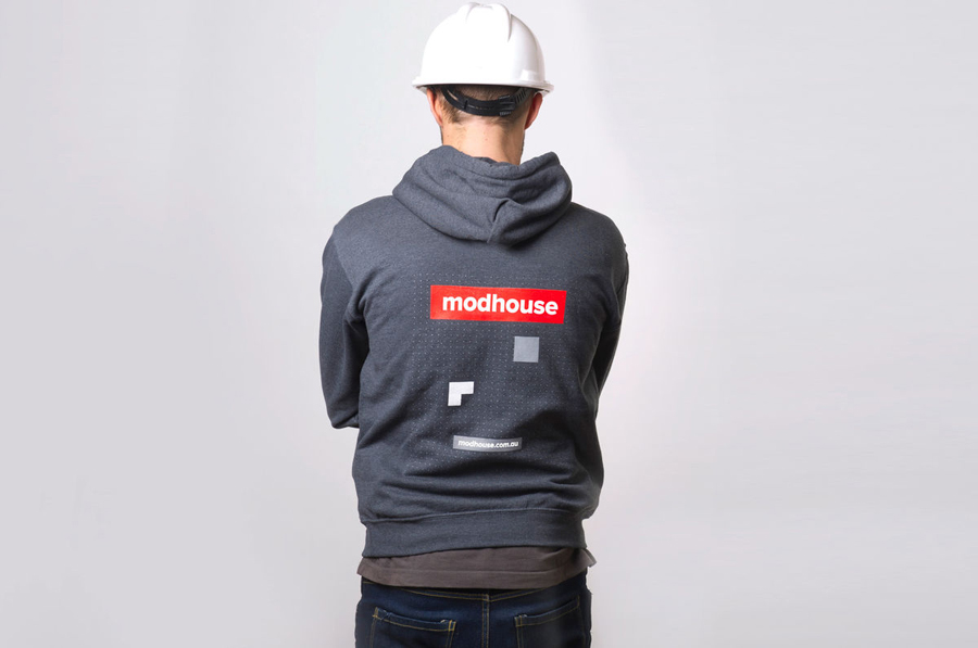 Logo and hoodie designed by A Friend Of Mine for Australian design and building firm Modhouse