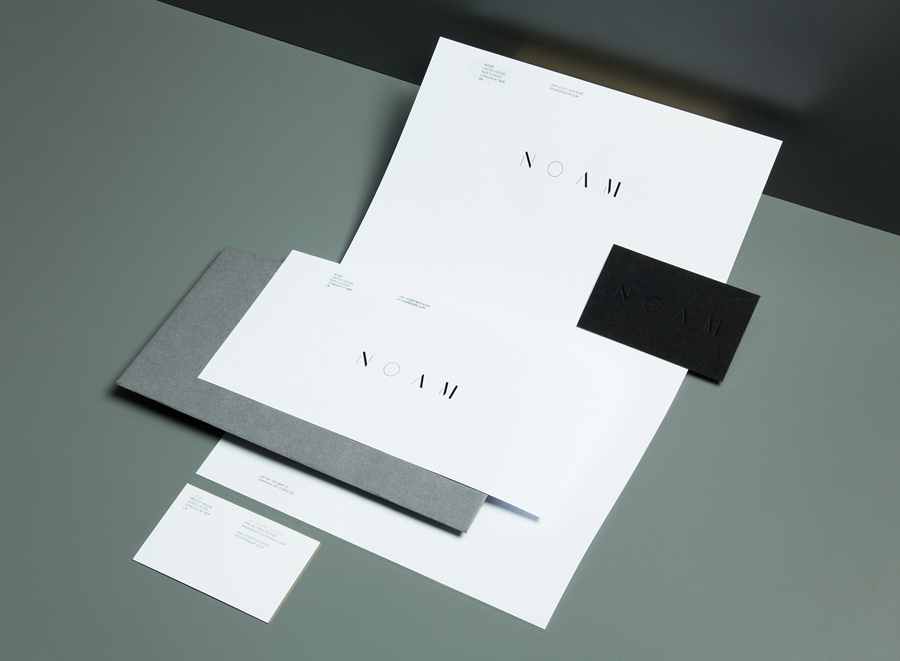 Logo and stationery created by Graphical House for interior design consultancy Noam
