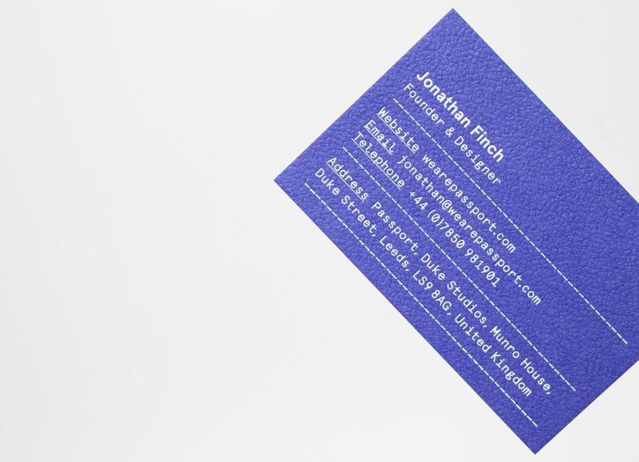 Royal Blue Colorplan business card for Leeds based design studio Passport