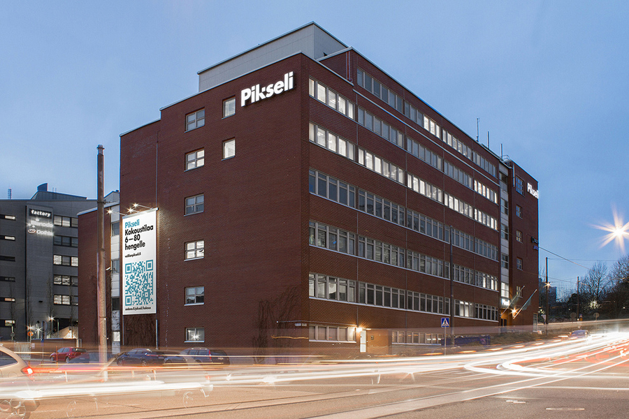Logotype and exterior signage designed by Werklig for Helsinki office space Pikseli