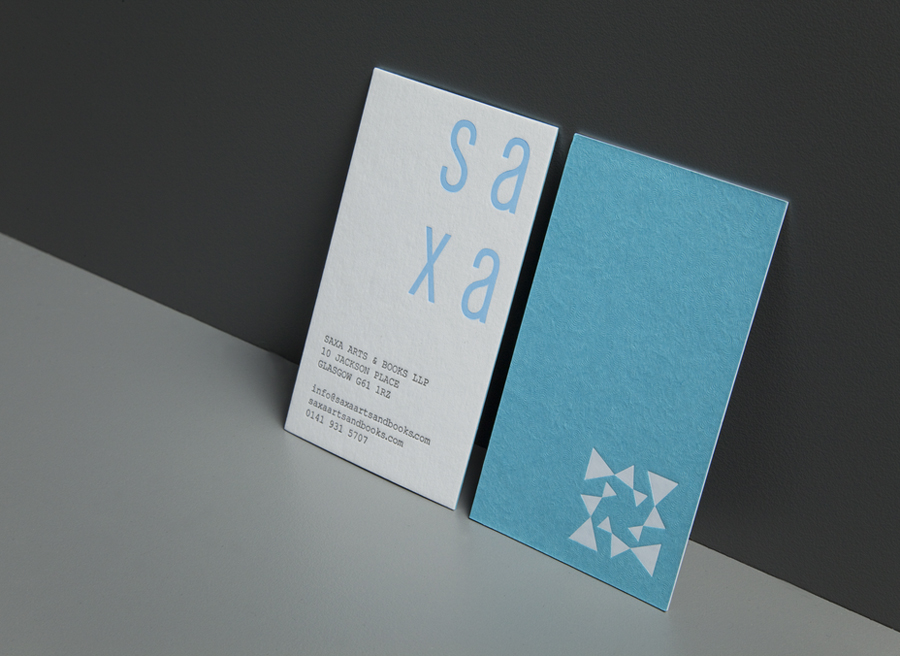Logo and business card with deboss detail and surface texture designed by Graphical House for independent on-line art dealer, publisher and commissioner Saxa