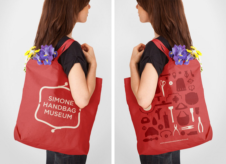 Tote bag designed by Charlie Smith Design for the Simone Handbag Museum