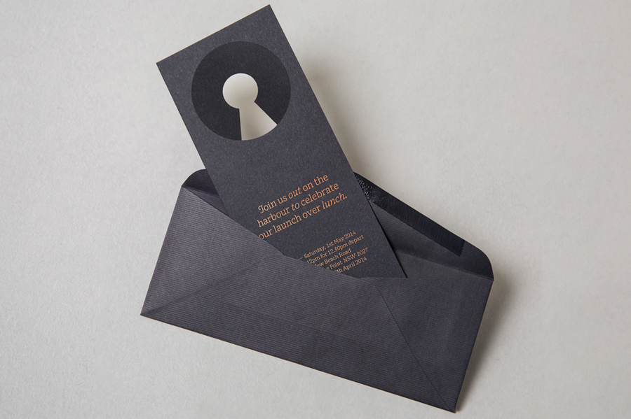 Logo and die cut, copper foiled invitation designed by Re for executive coaching and mentoring service The Confidante
