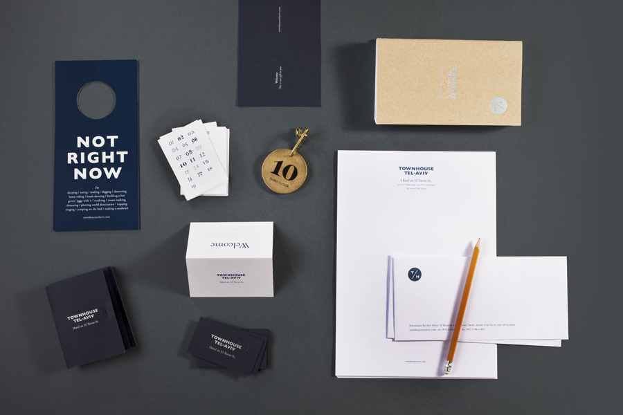 Logo and stationery designed by Koniak for Tel Aviv hotel Townhouse
