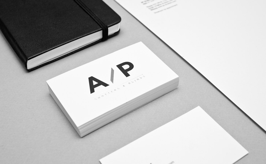 Logo and business cards designed by The Drop for AP Shutters & Blinds