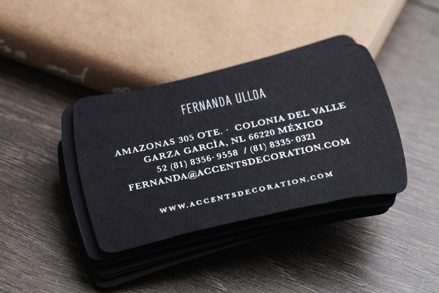 Business card reverse with white foil detail designed by La Tortilleria for home furnishing retailer and interior design service Accents