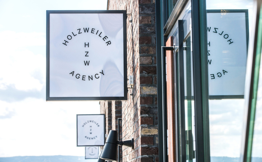Logo and exterior signage designed by Bielke+Yang for contemporary fashion distributor Holzweiler