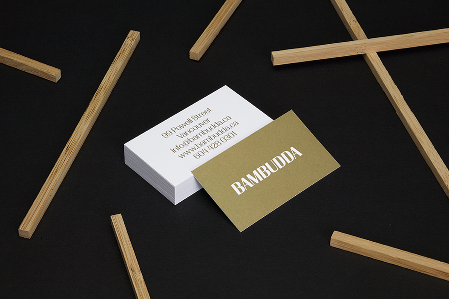 Logotype and business card with metallic gold spot colour print finish by Post Projects for Vancover-based Chinese restaurant Bambudda