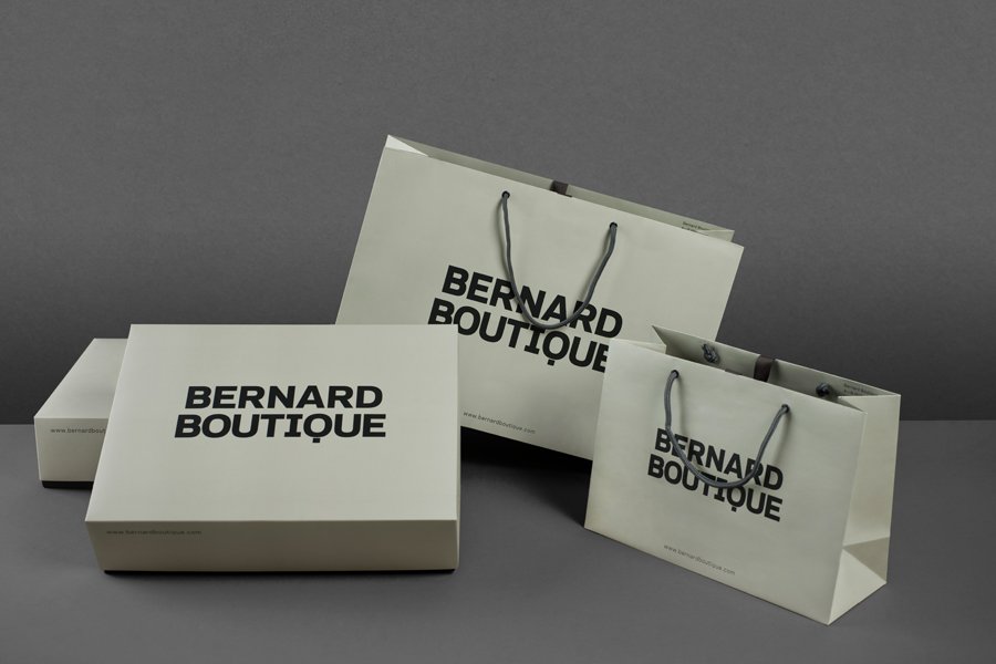 Logo, boxes and bags for award-winning fashion store Bernard Boutique designed by Bunch