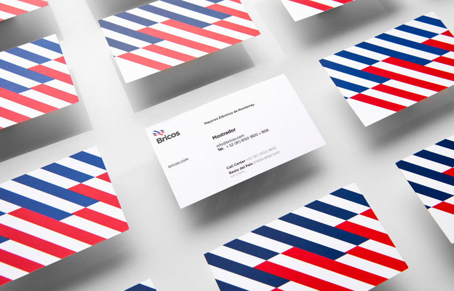 Logo and business cards designed by Anagrama for Mexican electrical hardware store Bricos