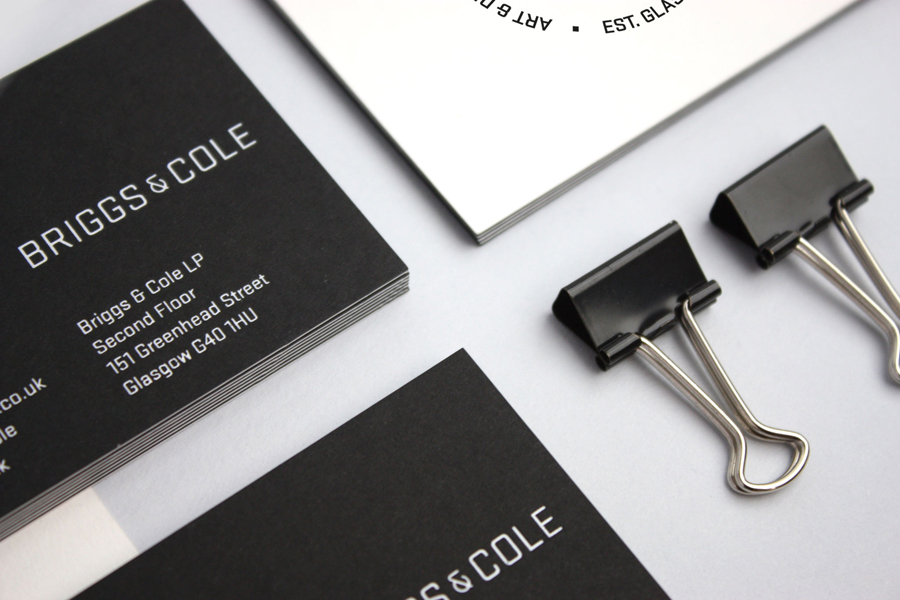 Logo and duplex business card design by Freytag Anderson for art and design partnership Briggs & Cole