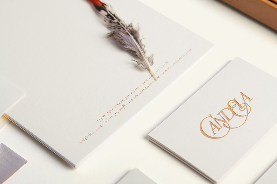 Logotype and stationery with gold block foil detail designed by RoAndCo for footwear and fashion brand Candela