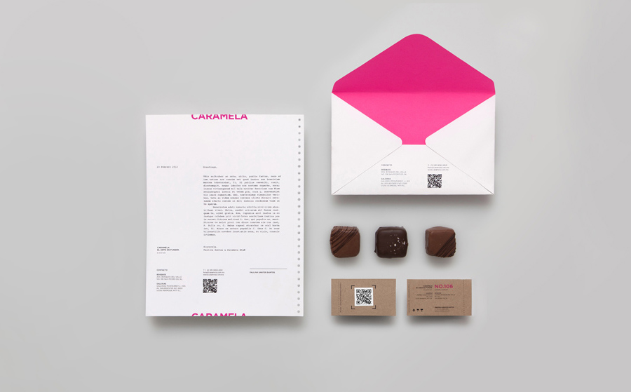 Stationery with neon pink detail for chocolate boutique and caterer Caramela designed by Anagrama