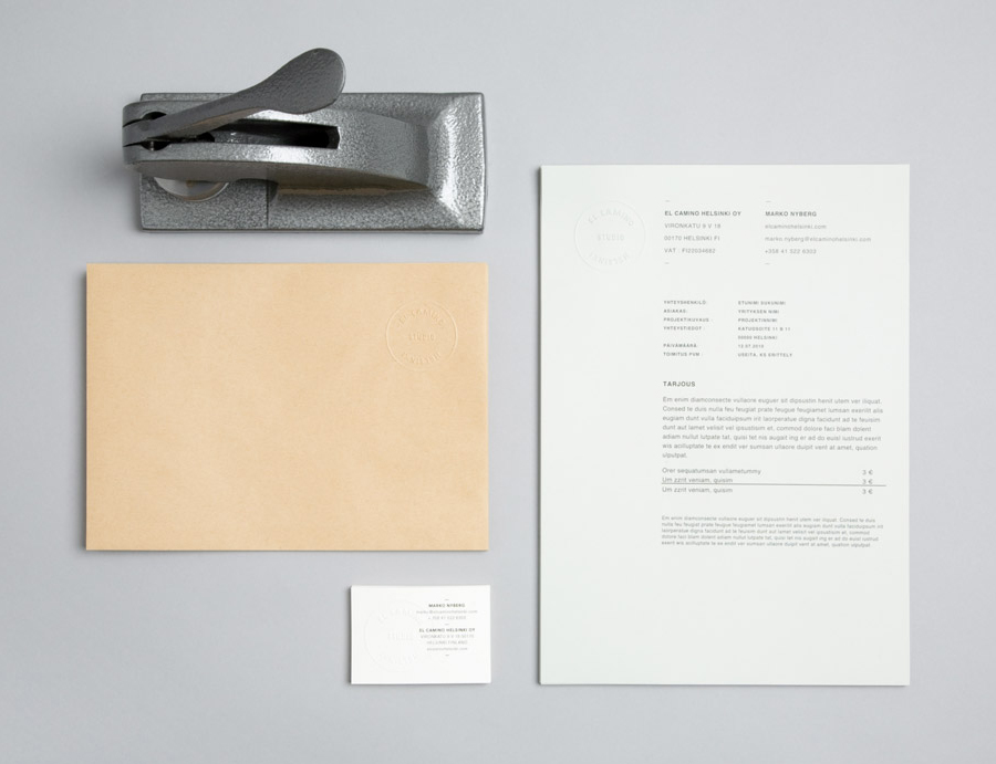 Stationery designed by Tsto for audio production and sound design studio El Camino