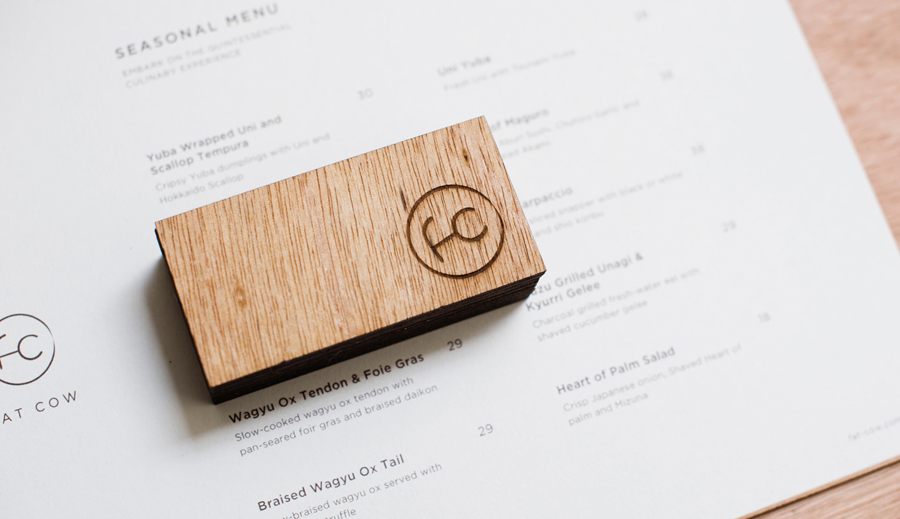 Logo and menu for specialist beef restaurant Fat Cow designed by Foreign Policy