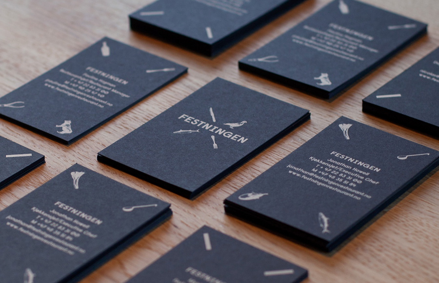 Logo and business cards by Uniform for Oslo brasserie Festningen