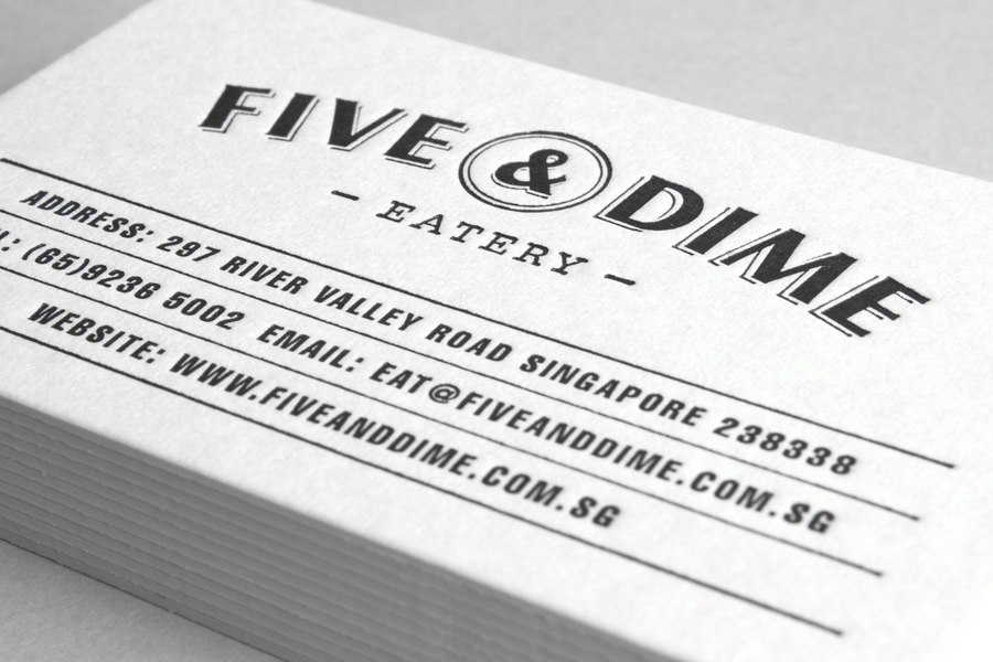 Logo design and business card by Bravo Company for Singapore cafe and restaurant Five & Dime