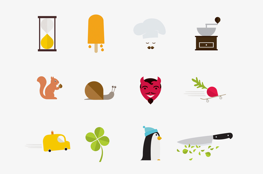 Illustrations created by Designers Anonymous for Russian fast food cafe Fresh Point.
