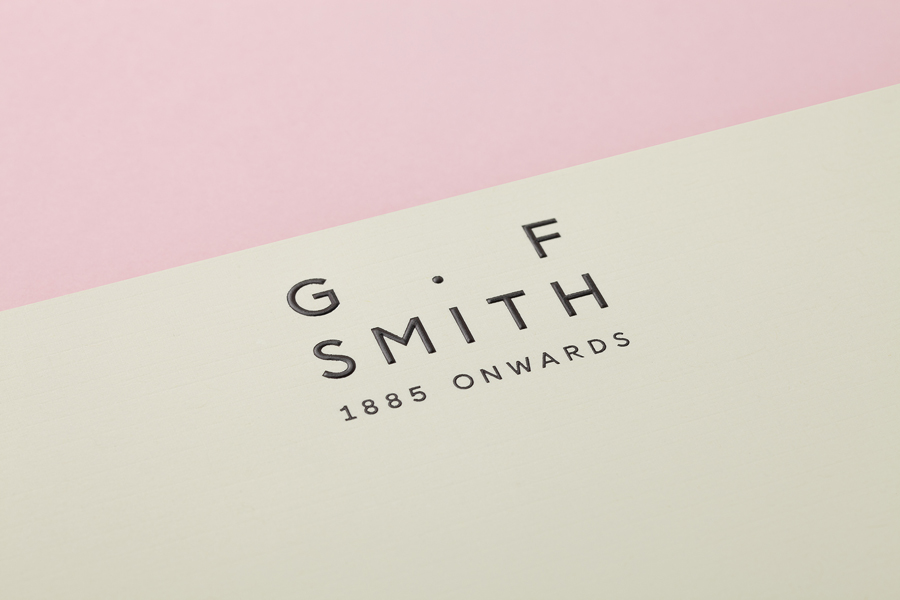 Embossed headed paper designed by Made Thought for British paper merchant G . F Smith