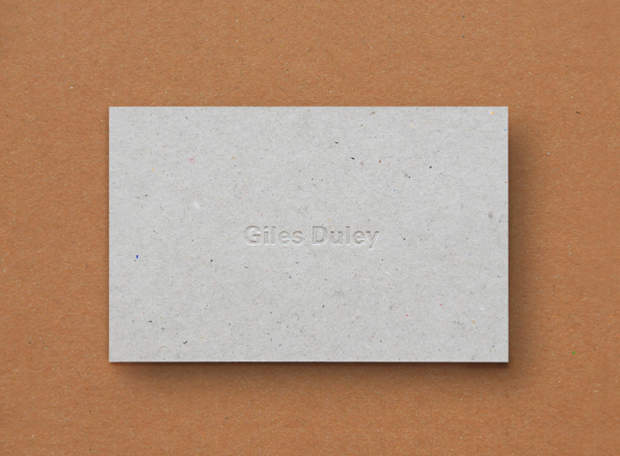 Business card for photographer Giles Duley designed by Shaz Madani