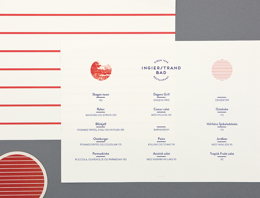 Logo and menus with vintage tinted photography detail designed by Uniform for recently refurbished Norwegian restaurant Ingierstrand Bad