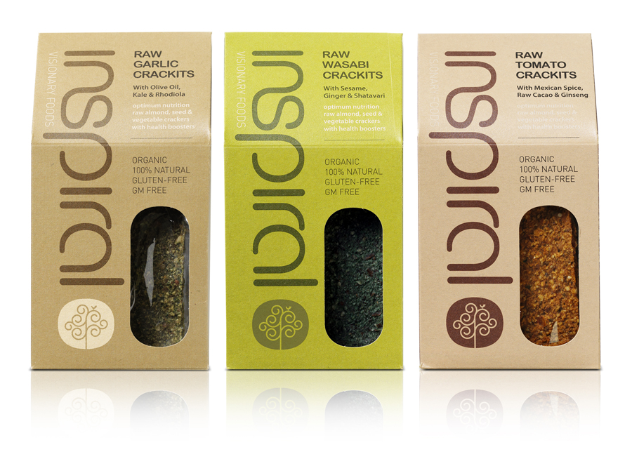 Logotype and packaging by Stduio h for organic raw food company Inspiral