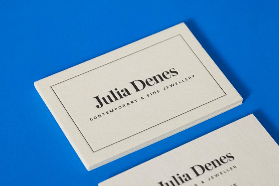 Logo and letterpress business card for contemporary handmade jewellery designer Julia Denes by Studio Sammut