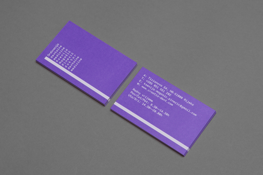 Logo and business card designed by Studio8585 for Croatian dental practice run by Dr. Ksenija Magašić Pinezić